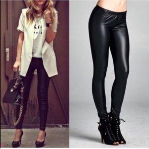 Pants - Matte Black Faux Leather Leggings